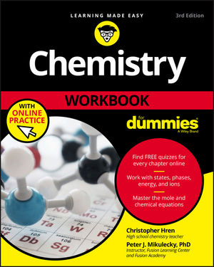 Chemistry Workbook For Dummies, 3rd Edition (1119357462) cover image