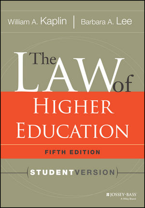 The Law of Higher Education, 5th Edition: Student Version (1118755863) cover image