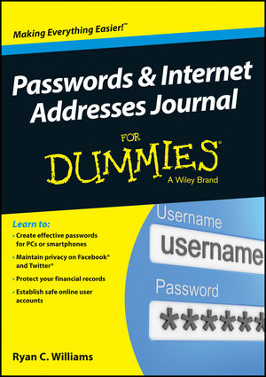 Passwords and Internet Addresses Journal For Dummies