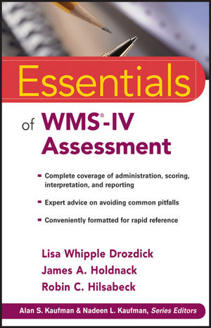Essentials of WMS-IV Assessment (0470621966) cover image