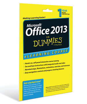 Office 2013 For Dummies eLearning Course Access Code Card (12 Month Subscription)