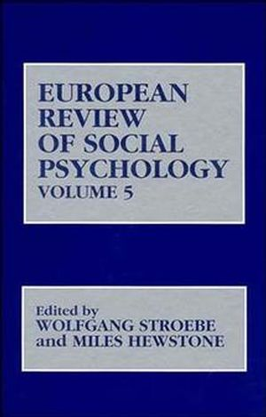 European Review of Social Psychology, Volume 5 (0471950270) cover image