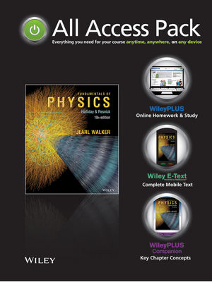 Fundamentals of Physics 10th Edition All Access Pack Containing: E-Text Card, WileyPLUS and WileyPLUS Companion