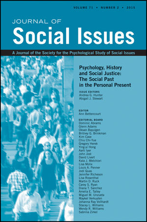 Psychology, History and Social Justice: The Social Past in the Personal Present