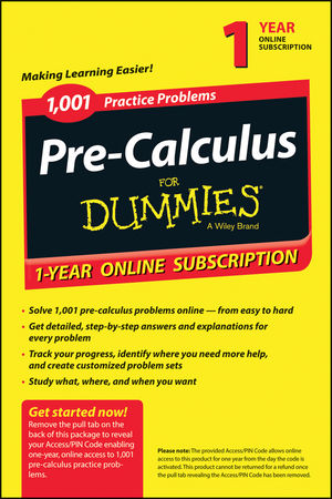 1,001 Pre-Calculus Practice Problems For Dummies access Code Card (1-Year Subscription) (1118853083) cover image