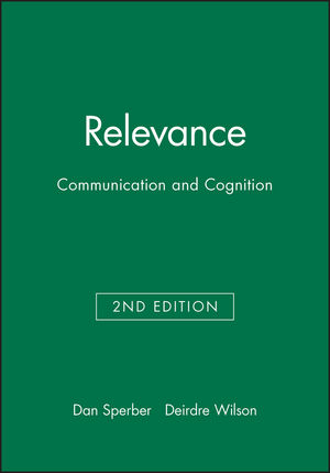 Relevance: Communication and Cognition, 2nd Edition (0631198784) cover image
