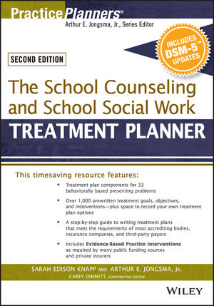 The School Counseling and School Social Work Treatment Planner, with DSM-5 Updates, 2nd Edition (1119063884) cover image