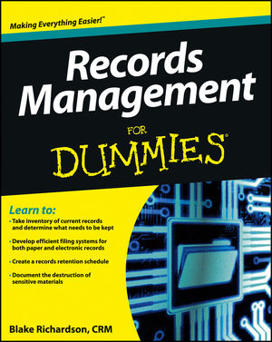 Records Management For Dummies (1118388089) cover image