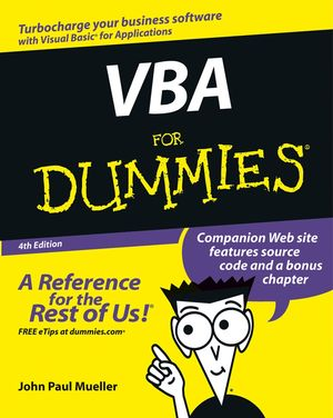 VBA For Dummies�, 4th Edition (0764539892) cover image