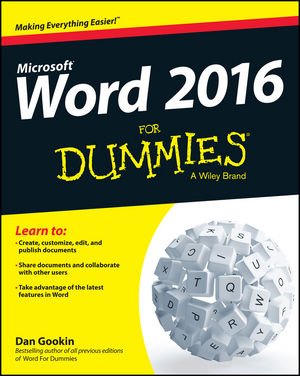 Word 2016 for dummies book information for dummies for For dummies template book cover