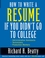 How to Write a Resume If You Didn't Go to College (0471446076) cover image
