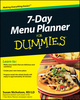 7-Day Menu Planner For Dummies (0470923504) cover image