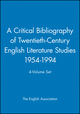 A Critical Bibliography of Twentieth-Century English Literature Studies 1954-1994, 4-Volume Set (0631209409) cover image