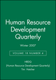 Human Resource Development Quarterly, Volume 18, Number 4, Winter 2007 (0470255110) cover image