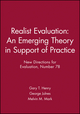 Realist Evaluation: An Emerging Theory in Support of Practice: New Directions for Evaluation, Number 78 (0787915513) cover image
