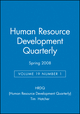 Human Resource Development Quarterly, Volume 19, Number 1, Spring 2008 (0470295414) cover image