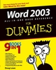 Word 2003 All-in-One Desk Reference For Dummies (0764571419) cover image