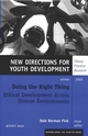Doing the Right Thing: Ethical Development Across Diverse Environments: New Directions for Youth Development, Number 108 (0787985430) cover image