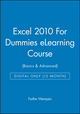 Excel 2010 For Dummies eLearning Course (Basics & Advanced) - Digital Only (12 Month) (1118513436) cover image