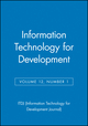 Information Technology for Development, Volume 12, Number 1 (0787985937) cover image