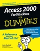 Access 2000 For Windows For Dummies (0764504444) cover image