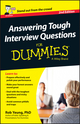 Answering Tough Interview Questions For Dummies - UK, 2nd UK Edition (1118679946) cover image