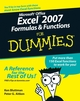 Microsoft Office Excel 2007 Formulas and Functions For Dummies (0470046554) cover image