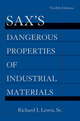 Sax's Dangerous Properties of Industrial Materials, 5 Volume Set, 12th Edition (047062325X) cover image