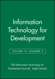 Information Technology for Development, Volume 13, Number 2 (0470183160) cover image