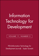 Information Technology for Development, Volume 11, Number 3 (0471784265) cover image