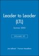 Leader to Leader (LTL), Volume 29, Summer 2003 (0787971065) cover image