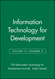 Information Technology for Development, Volume 11, Number 4 (0471784273) cover image