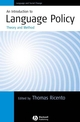 An Introduction to Language Policy: Theory and Method (1405114975) cover image