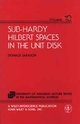 Sub-Hardy Hilbert Spaces in the Unit Disk (0471048976) cover image