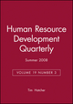 Human Resource Development Quarterly, Volume 19, Number 3, Fall 2008 (0470408677) cover image