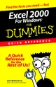 Excel 2000 for Windows For Dummies Quick Reference  (0764504479) cover image