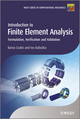 Introduction to Finite Element Analysis: Formulation, Verification and Validation (0470977280) cover image