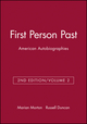 First Person Past, Volume 2: American Autobiographies, 2nd Edition (1881089983) cover image
