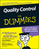 Quality Control for Dummies (0470069090) cover image