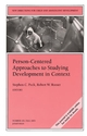 Person-Centered Approaches to Studying Development in Context: New Directions for Child and Adolescent Development, Number 101 (0787971693) cover image