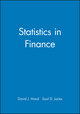 Statistics in Finance (0470711094) cover image